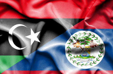 belize: Waving flag of Belize and Libya