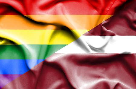 latvia: Waving flag of Latvia and