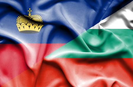 lichtenstein: Waving flag of Bulgaria and Lichtenstein