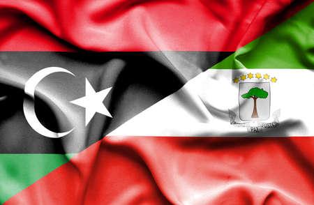 equatorial: Waving flag of Equatorial Giuinea and Libya