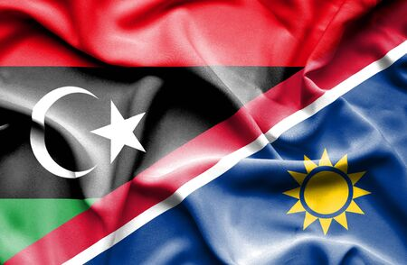 namibia: Waving flag of Namibia and  Libya