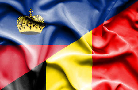 lichtenstein: Waving flag of Belgium and Lichtenstein