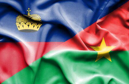 burkina faso: Waving flag of Burkina Faso and Lichtenstein