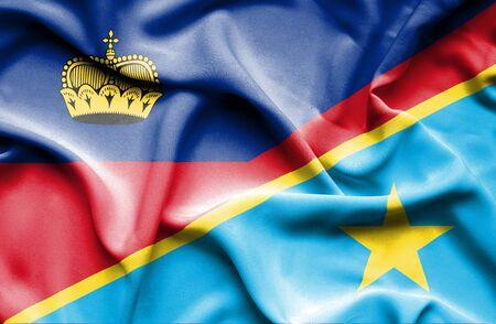 lichtenstein: Waving flag of Congo Democratic Republic and Lichtenstein