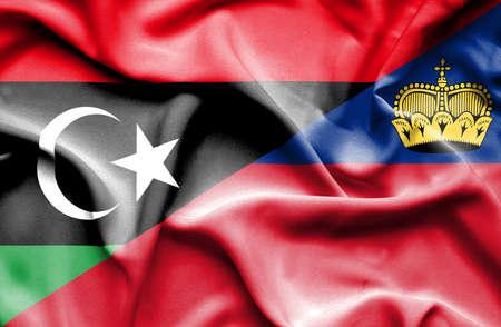 lichtenstein: Waving flag of Lichtenstein and Libya
