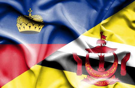 lichtenstein: Waving flag of Brunei and Lichtenstein