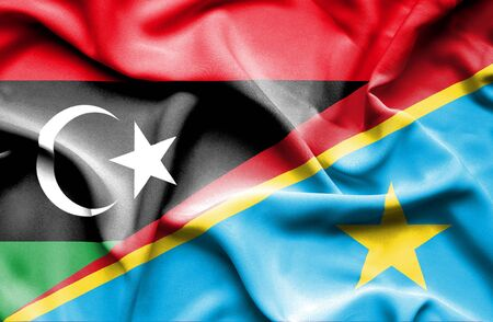 democratic: Waving flag of Congo Democratic Republic and Libya Stock Photo