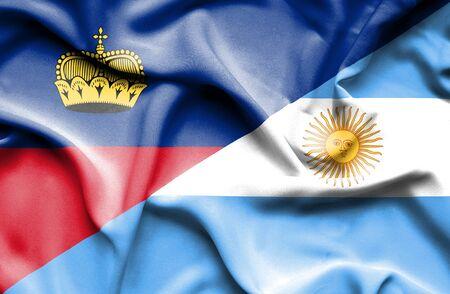 lichtenstein: Waving flag of Argentina and Lichtenstein Stock Photo