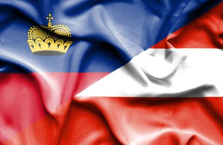 lichtenstein: Waving flag of Austria and Lichtenstein