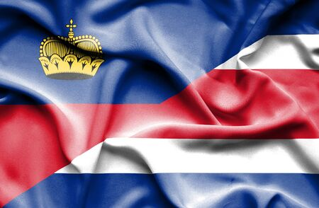 lichtenstein: Waving flag of Costa Rica and Lichtenstein Stock Photo