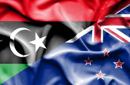 bandera de nueva zelanda: Ondeando la bandera de Nueva Zelanda y Libia