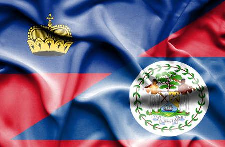 lichtenstein: Waving flag of Belize and Lichtenstein