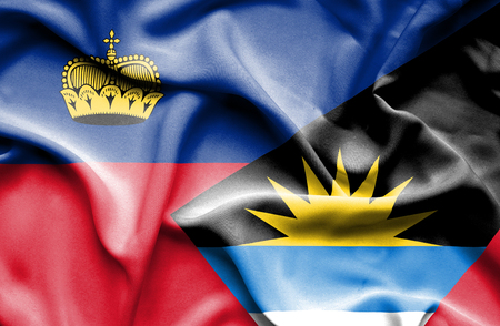 antigua: Waving flag of Antigua and Barbuda and Lichtenstein
