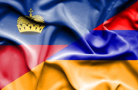 lichtenstein: Waving flag of Armenia and Lichtenstein