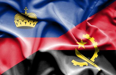 lichtenstein: Waving flag of Angola and Lichtenstein Stock Photo