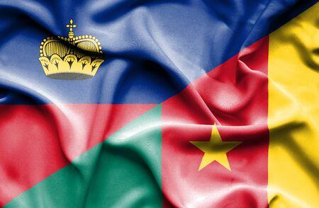 lichtenstein: Waving flag of Cameroon and Lichtenstein Stock Photo