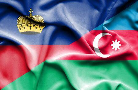 lichtenstein: Waving flag of Azerbajan and Lichtenstein Stock Photo