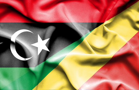 congo: Waving flag of Congo Republic and Libya