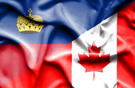 lichtenstein: Waving flag of Canada and Lichtenstein