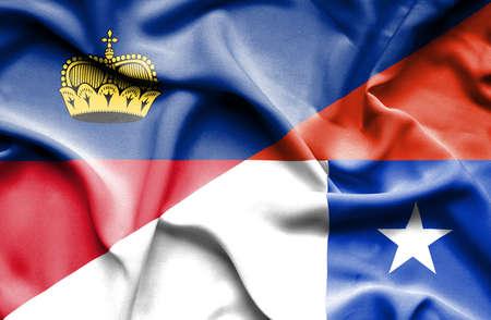 lichtenstein: Waving flag of Chile and Lichtenstein