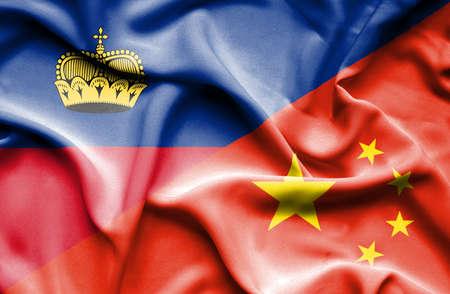 lichtenstein: Waving flag of China and Lichtenstein Stock Photo