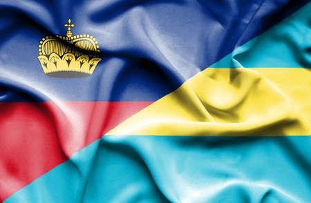 lichtenstein: Waving flag of Bahamas and Lichtenstein