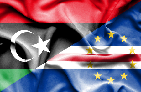 cape verde: Waving flag of Cape Verde and Libya Stock Photo