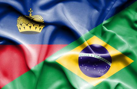 lichtenstein: Waving flag of Brazil and Lichtenstein Stock Photo