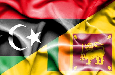 sri lanka: Waving flag of Sri Lanka and Libya Stock Photo