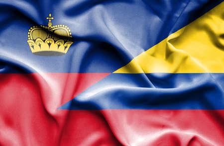 lichtenstein: Waving flag of Columbia and Lichtenstein