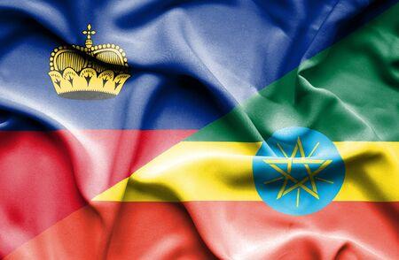lichtenstein: Waving flag of Ethiopia and Lichtenstein Stock Photo