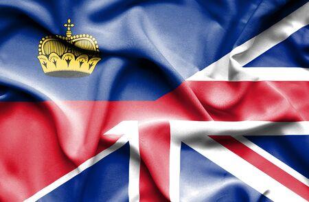 lichtenstein: Waving flag of United Kingdon and Lichtenstein