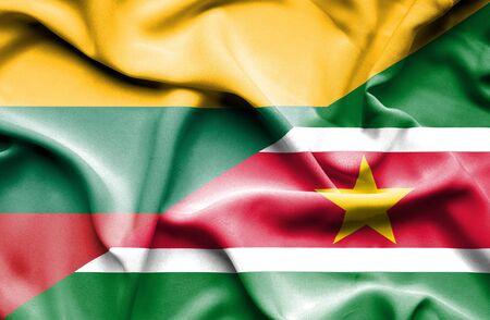 suriname: Waving flag of Suriname and Lithuania