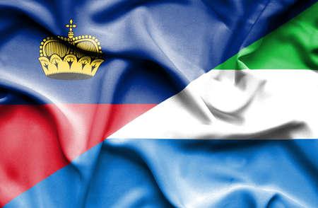 lichtenstein: Waving flag of Sierra Leone and Lichtenstein
