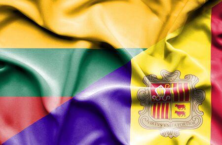 andorra: Waving flag of Andorra and Lithuania Stock Photo