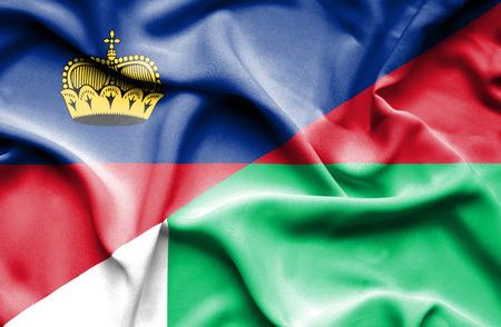 lichtenstein: Waving flag of Madagascar and Lichtenstein Stock Photo