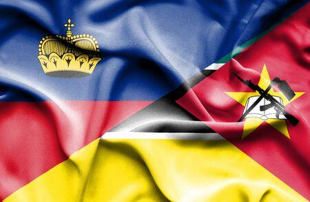 lichtenstein: Waving flag of Mozambique and Lichtenstein Stock Photo