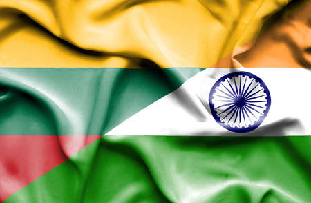 lithuania: Waving flag of India and Lithuania