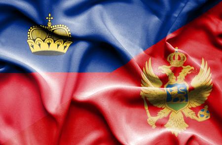 lichtenstein: Waving flag of Montenegro and Lichtenstein