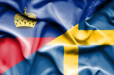 lichtenstein: Waving flag of Sweden and Lichtenstein