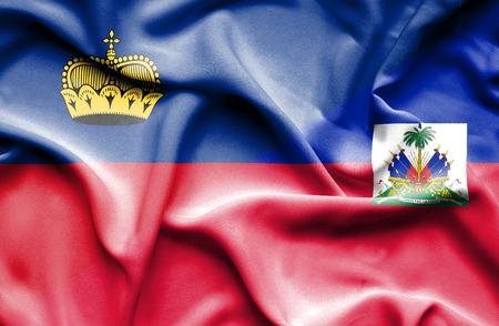 lichtenstein: Waving flag of Haiti and Lichtenstein Stock Photo