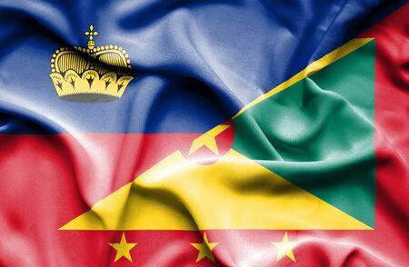lichtenstein: Waving flag of Guernsey and Lichtenstein