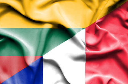 lithuania: Waving flag of France and Lithuania