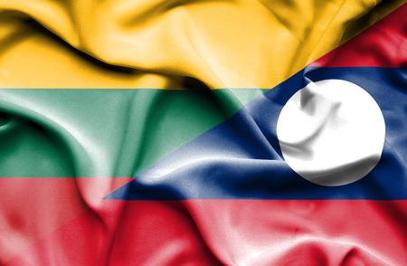 laos: Waving flag of Laos and Lithuania