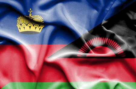 malawian: Waving flag of Malawi and Lichtenstein