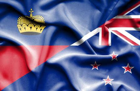 lichtenstein: Waving flag of New Zealand and Lichtenstein