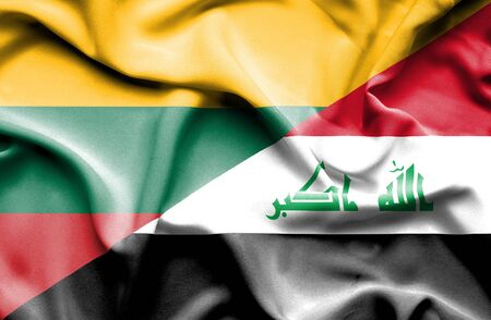 lithuania: Waving flag of Iraq and Lithuania