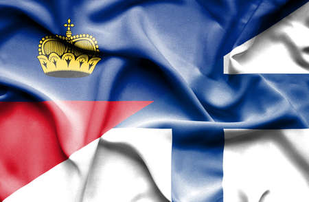 lichtenstein: Waving flag of Finland and Lichtenstein
