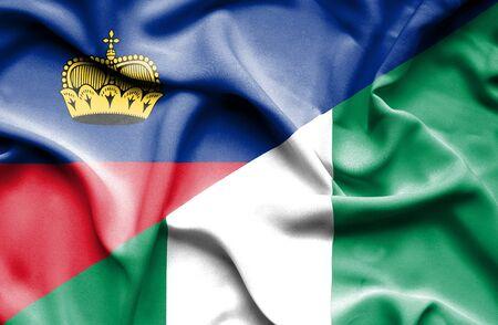 lichtenstein: Waving flag of Nigeria and Lichtenstein Stock Photo
