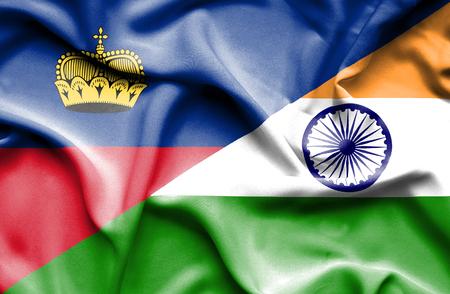 lichtenstein: Waving flag of India and Lichtenstein Stock Photo